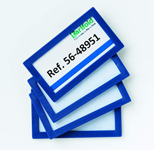 Tarifold Fr 194851- Lot 4 Cadres d'identification dos Adhésif permanent, Plaque Porte-nom, Porte-références, 80 x 45 mm- Bleu (Lot 4 pcs)