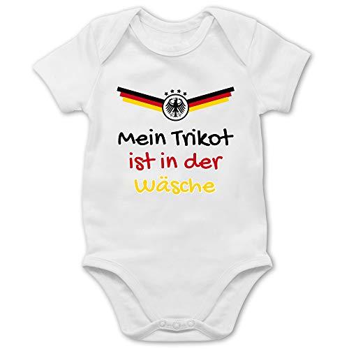 Shirtracer Fußball-Europameisterschaft 2021 - Baby - Mein Trikot ist in der Wäsche Deutschland - 6/12 Monate - Weiß - Deutschland Baby Trikot - BZ10 - Baby Body Kurzarm für Jungen und Mädchen