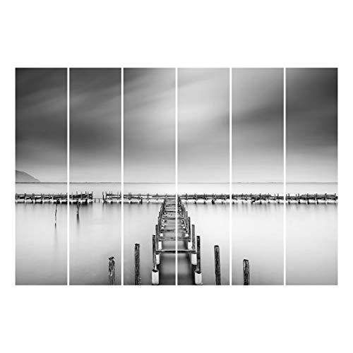 Bilderwelten Panel japonés Cortinas Riel The Old Pier Set Montaje para Techo, 250 x 360cm