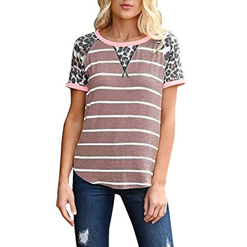 Damen Sommer T-Shirt Freizeit O-Ausschnitt Sweet Sexy Striped Print Stretch Weste Lange Hülsen Schnüre Schlankes Tee Polyester Leopard Streifen Print Hemden Bluse Tops (EU:36, Rosa)
