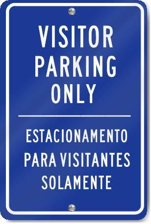 DKISEE Bezoeker Parkeerplaats Alleen Spaans Vertaling Blauw Teken Duurzaam Roestvrij Aluminium Engineering Grade Beschikbaar Teken, 12
