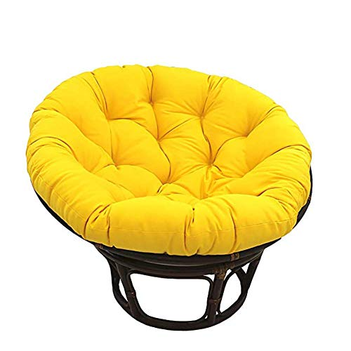 Zairmb Cotton Overstuffed Hanging Egg Chair Pads Thickened Waterproof Papasan Chair Cushion Rattan Quilting Hanging Egg Hammock Chair Pads Removable-110cm(43inch) Yellow