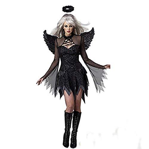 Costour Damen Schwarzer Engel Hexe Cosplay Kostüm Kleid Karneval Halloween Fasching Gothic, Schwarz, Large