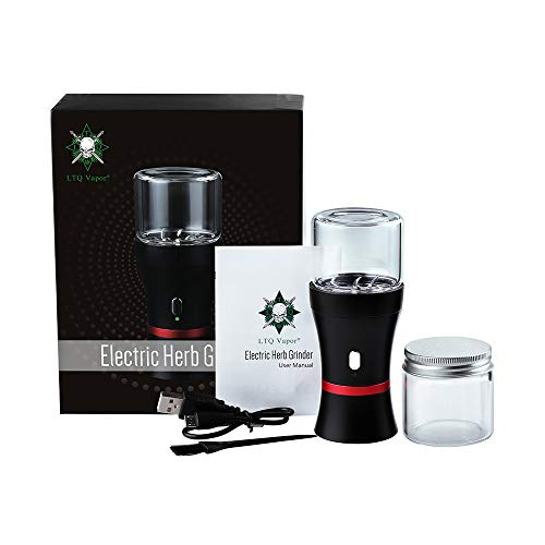 Upgraded Version-Electric Smart Herb and Spice Grinder,1100 mAh Rechargeable Grinder with 2 x 50ml Jars for Storage &Pollen Collection,Brush for Easy Clean (Six Leaf Blade)
