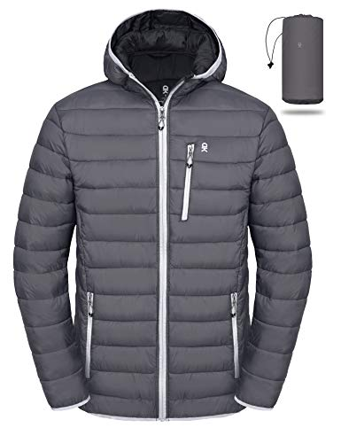 Little Donkey Andy Men's Packable Lightweight Puffer Jacket Hooded Windproof Winter Coat with Recycled Insulation Grey XXL