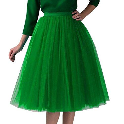 FAMILIZO_Faldas Cortas Mujer Verano Faldas Tubo De Moda Faldas Tul Mujer Faldas Altas De Cintura Faldas Acampanadas De Mujer Mini Faldas Tutu Tulle Vestidos (Talla única, Verde)