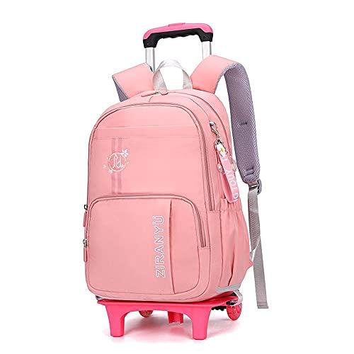 QWEIAS Maleta de equipaje con ruedas para niños Bolsas escolares desmontables para estudiantes primarios Trolley Mochila impermeable para niños con ruedas de ruedas naranja-2 ruedas