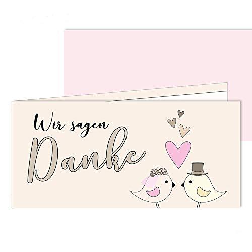 25 Danksagungs-Karten I dv_172 I DIN lang I Set mit passendem Brief-Umschlag Dankes-Karten Postkarten Dankeschön Vielen Dank nach Hochzeit rosa