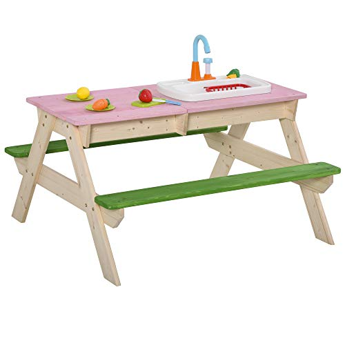 Outsunny 2-in-1 Kinder Campingtisch mit 2 Sitzbänke Matschküche Spieltisch mit Wasserhahn Holz Spieltisch für Kinder 3-7 Jahren Fichte PP-Kunststoff 94 x 89 x 50,5 cm