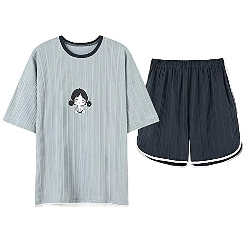 XFLOWR Camicia da Notte Loungewear Estate Maglia Cotone Delle Donne Pigiameria Del Fumetto Pigiama Set Manica Corta Girocollo Casual Soft Big Size L HBN1626