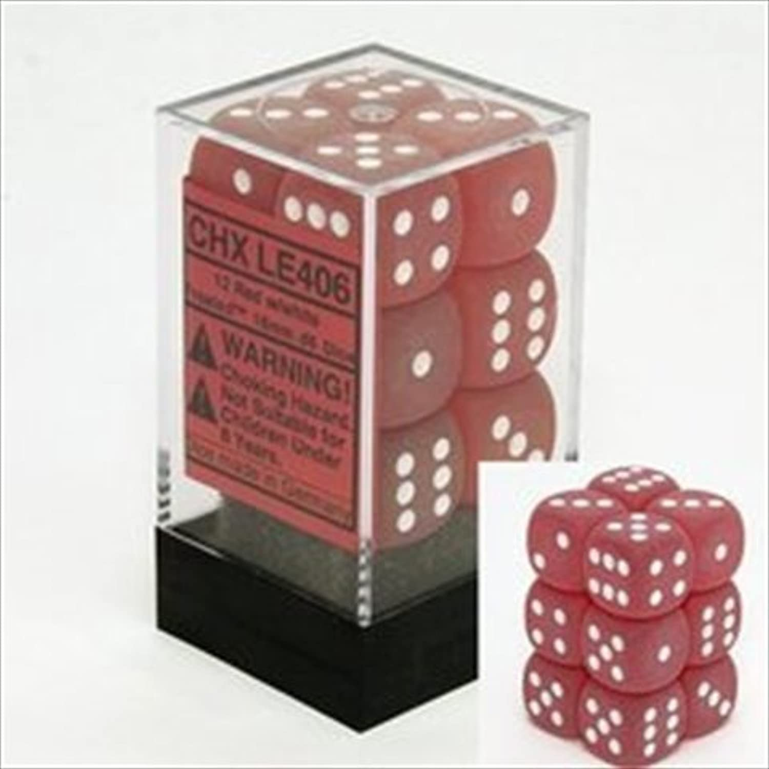 Frosted 16mm d6 Red white Dice Block 12 pipped dice by Chessex