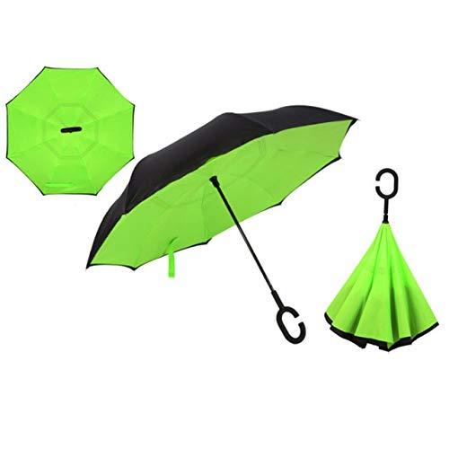 NJSDDB paraplu Winddichte Omgekeerde Dubbele Laag Omgekeerde Chuva Paraplu Zelf Stand Regenbescherming C-haak Handen Voor Auto, Groen