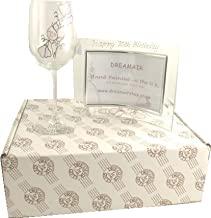 50th Birthday Sweet Pea Wine Glass and Frame Gift Set