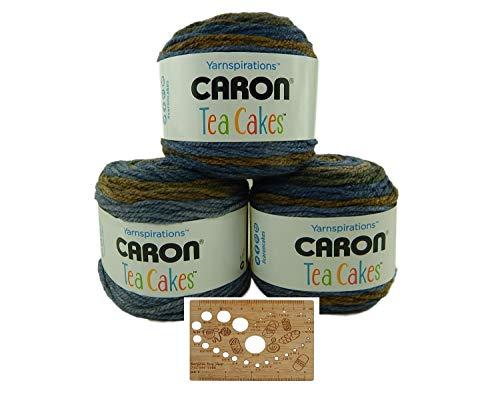 Caron Tea Cakes Acrylic-Wool Blend Yarn Super Bulky #6 8.5 oz 204 yds 3-Pack w Bamboo Knitting Gauge (Cornflower)