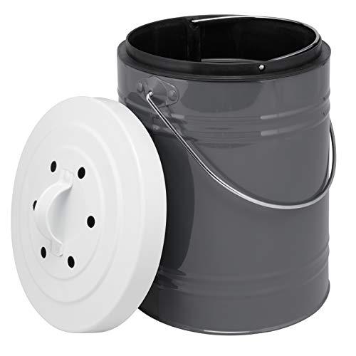 bremermann Komposteimer mit 5 Liter Inneneimer Aktivkohlefilter Bio Abfalleimer (Grau-Weiß)