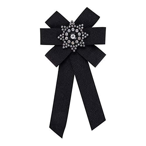 Nowbetter Elegante broche de lazo con lazo para el cuello, broches de corbata, para traje de camisa, boda, fiesta, collar, corbata, color negro