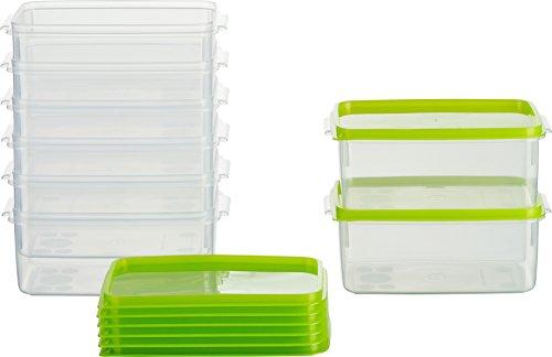 MiraHome Frischhaltedose Gefrierbehälter 0,5l Rechteckig hoch 14x9,5x6,2 cm 8er Set grün Austrian Quality