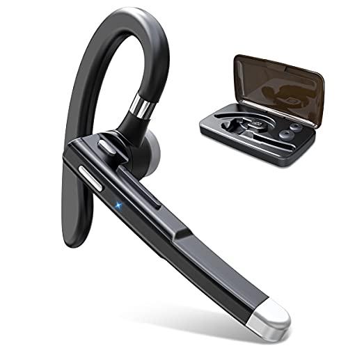 【進化版Bluetooth5.2技術 瞬時接続】Bluetooth ヘッドセット 片耳 ワイヤレスヘッドセット マイク内蔵 耳掛け式 左右耳兼用 ミュート機能 ハンズフリー通話 自動ペアリング CVC8.0ノイズキャンセリング IPX7防水 充電ケース付き Siri対応 iPhone/Android対応 在宅勤務/オンライン/LINEチャット/仕事/通学/zoom会議などに適用