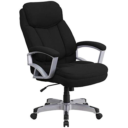 Flash Furniture HERCULES Series Big & Tall 500 lb. Rated Black Fabric Executive Swivel Ergonomic Office Chair with Arms, BIFMA Certified
