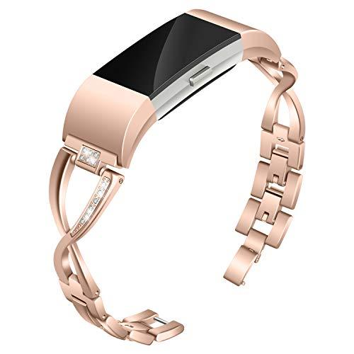 Valchinova Ersatz-Armband aus Metall, kompatibel mit Fitbit Charge 2 für Damen, Damen, Rose Gold