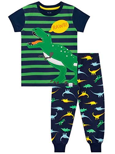 Harry Bear Jungen Schlafanzug, Dinosaurier Schlafanzug, enganliegend Gr. 5-6 Jahre, blau