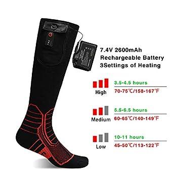 Chaussettes chauffantes avec télécommande sans fil pour homme et femme, 7,4 V 2 600 mAh batterie rechargeable chaussettes d'hiver en coton pour ski, chasse, pêche, cyclisme, camping, moto, Noir , L