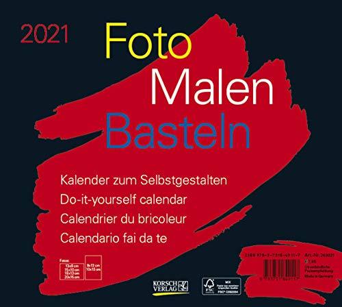 Foto-Malen-Basteln Bastelkalender quer schwarz 2021: Fotokalender zum Selbstgestalten. Do-it-yourself Kalender mit festem Fotokarton. Format: 24 x 21,5 cm