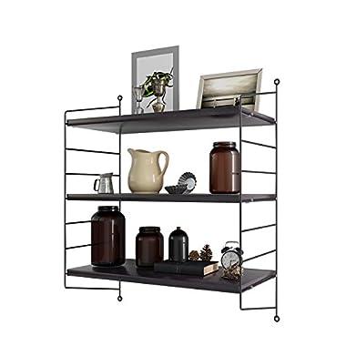 Modern Design 3-Tier Wall Mount Display Floating Wall Shelves Storage Rack Wall Rack Holder Rack,24 x8 Black