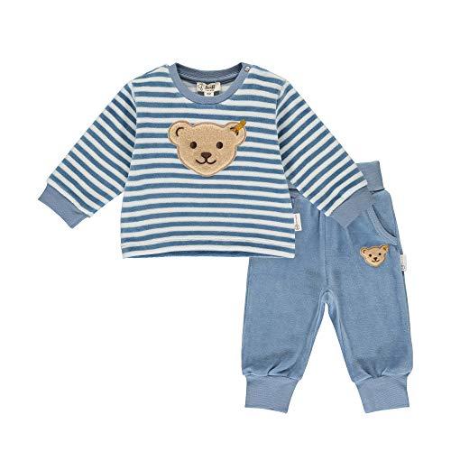 Steiff Baby-Unisex mit süßer Teddybärapplikation Set Hose+Sweatshirt GOTS, Stonewash, 074