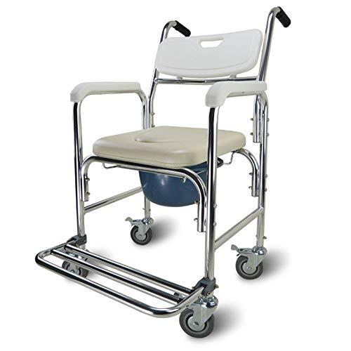 QWD Silla de Inodoro para sillas de Ruedas con reposapiés, Inodoro para sillas de Ruedas con Inodoro Incorporado Adulto portátil portátil con Ancianos de aleación de Aluminio Multifuncional de 135 kg