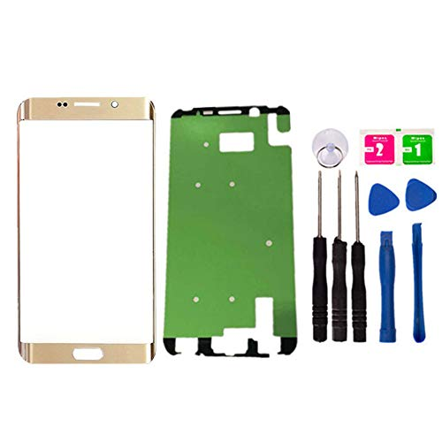 Replacement Repair Front Outer Top Glass Lens Cover Screen for Samsung Galaxy S6 Edge Plus G928F G928T G928P G928V 5.7 inch Mobile Phone Curved Surface Parts with Adhesive Tools Kit (Gold)
