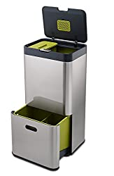 Joseph Joseph IntelligentWaste Totem 60 - Abfallbehälter mit separater Recycling-Einheit, inkl. Biomüll-Caddy, 60 Liter - Edelstahl