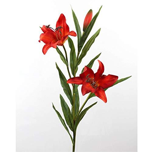 artplants.de Künstliche Prachtlilie mit 2 Blüten, rot, 88cm, Ø 15cm - Deko Lilie - Kunstblumen
