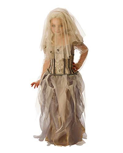 Horror-Shop Geister Braut Kostüm mit Schleier für Kinder als Halloween Outfit L