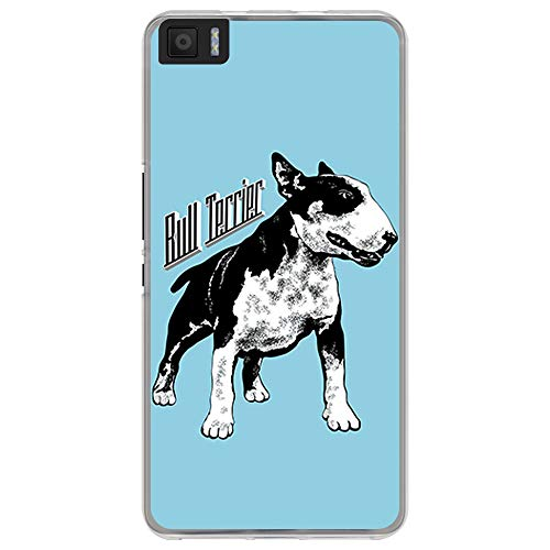 BJJ SHOP Funda Transparente para [ Bq Aquaris M5.5 ], Carcasa de Silicona Flexible TPU, diseño: Bull Terrier Blanco y Negro