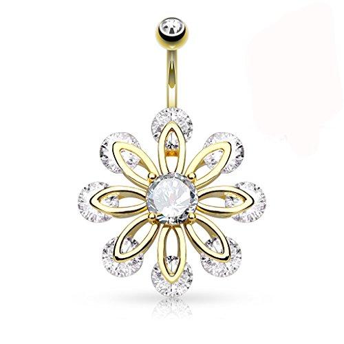Les Plaisirs de Stella - Piercing per ombelico in acciaio chirurgico 316L, placcato oro 14 K e cristallo trasparente, motivo: fiore