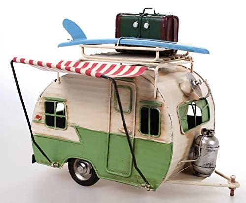 Schick-Design Wohnwagen aus Metall hellgrün mit Rahmen und Spardose Camper Auto Oldtimer Nostalgie