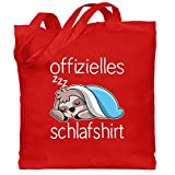Shirtracer Statement - Offizielles Schlafshirt mit Faultier - weiß - Unisize - Rot - Geschenk - WM101 - Stoffbeutel aus Baumwolle Jutebeutel lange Henkel