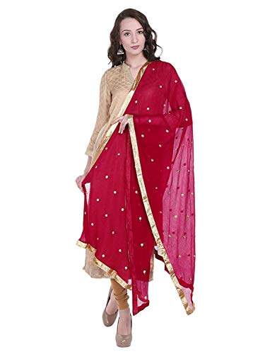 TMS Woman's Embroidered Chiffon Dupatta Scarf Shawl Wrap Soft Indian Bridal Wedding (Dark Pink)