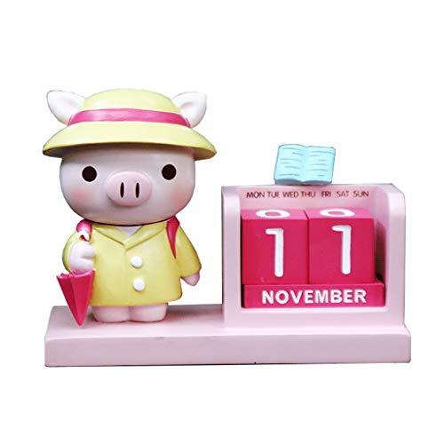 ZNZN Calendario de Escritorio Mini Calendario De Escritorio Elefante Bebé Calendario Perpetuo Lindo Calendario De Animales para Niños Regalos Calendarios (Color : Piggy)