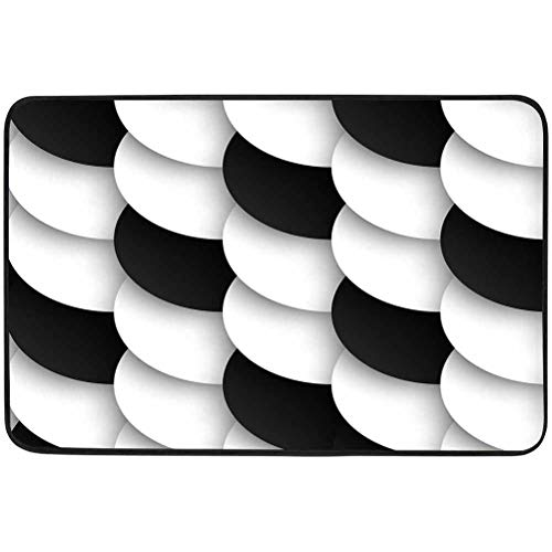 Door Floor Mat, Seamless Pattern of Black and White Circles with Drop Shadows Vector Illustration, W15.75 x L23.6 Inch Non Slip Rubber Backing, Shoe Mat for Entryway