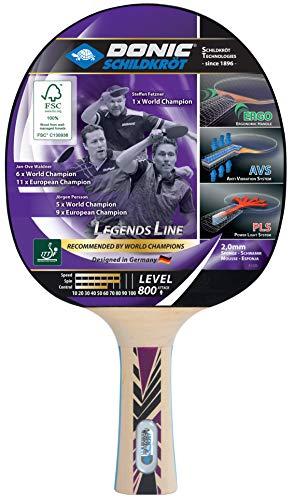 Donic-Schildkröt Raqueta de Tenis de Mesa Legends 800, AVS, PLS y Ergo-Grip, Esponja de 2,0 mm, Madera FSC, Almohadilla Champion-ITTF, 754425
