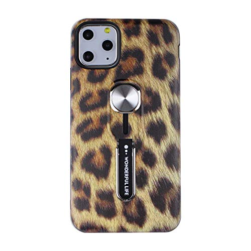 Leopard iPhone 11 Case with Finger Grip Loop,Hosgor 3D Print Design Rugged Shockproof Slim Fit Dual Layer Finger Ring Loop Strap Cover with Finger Strap for Apple iPhone 11(6.1inch 2019)