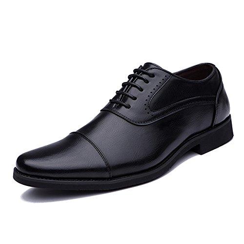 Ji Yun - Zapatos Formales para Hombre, Estilo Oxford, Informales, Sencillos y Retro, Estilo británico, Negro, 41