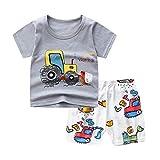 Berrywho las Camisetas del niño Cortos Pijamas del bebé de Manga Corta Muchacho de la Muchacha Ropa de Verano Conjunto excavadoras 80cm 2PCS Ropa de los niños Lindos