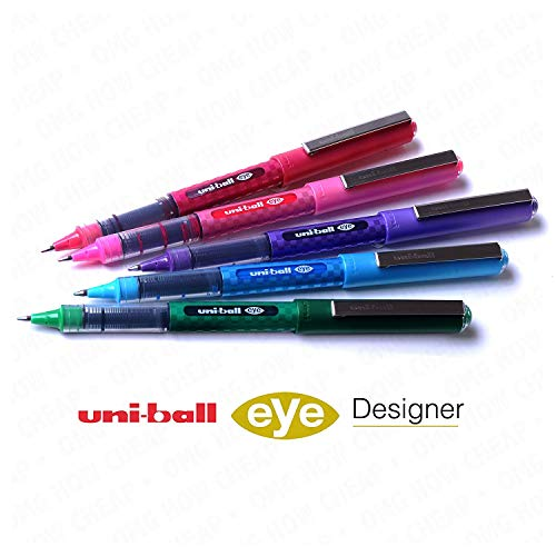 Uni-Ball UB-157D Designer Eye Rollerball Pen Set - Pack of 5 Swatch Colours (Green, Light Blue, Pink, Red and Violet) UB157D