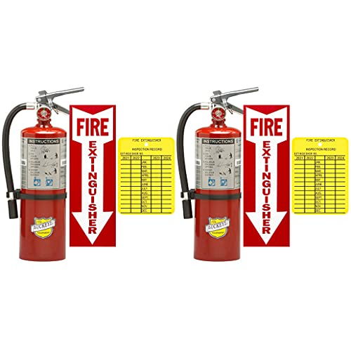 5Lb Type ABC Dry Chemical 2-A:10-B:C Fire Extinguishers Buckeye with 2 Wall Hooks, 2 - Yellow Inspection Tags and Signs (2 Pack)
