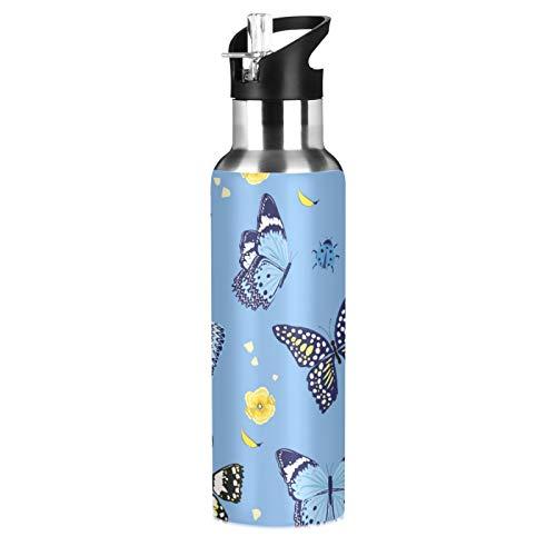 xigua Botella de agua deportiva aislada con tapa de pajita, de acero inoxidable, para aspiradora, botella térmica a prueba de fugas, mariposa azul