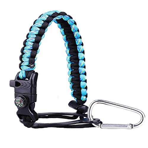 Red King Paracord Handle - Paracord Carrier Strap Cord with Safety Ring,Compass and Carabiner for Wide Mouth Water Bottles 12 Oz - 64 Oz - Ideal Flask Accessories for Hiking (Mint Green)