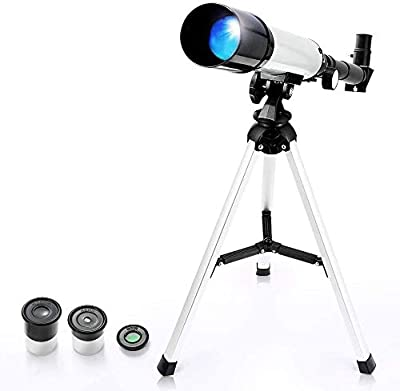 Kids Astronomical Telescope, Professional 90X Astronomical Landscape Telescope with Tripod, 2 Magnification Eyepieces, 1.5X Barlow Len, Early Science Educational Toys for Children